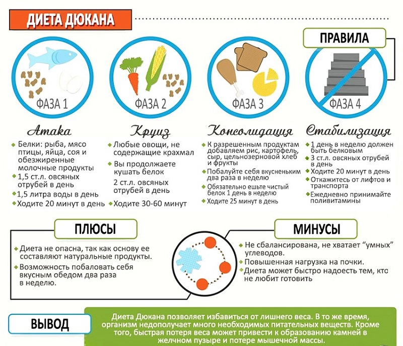 Знаменитая диета Дюкана: описание этапов с подробным меню на 7 дней и рецептами